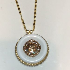 CHANEL Jewelry - White/Gold Authentic CC button piece